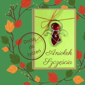 Kartka na życzenia z czerwonym Aniołkiem Szczęścia
