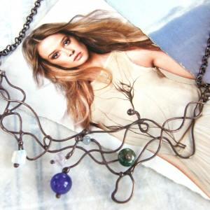 Kolia: elfi naszyjnik z kamykami, agat i opalit