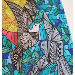 Zentangle GOŁĘBIE rysunek obraz obrazek