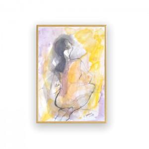 rysunek do sypialni, nowoczesna grafika, malowany ręcznie obraz