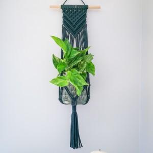 Kwietnik makrama wiszący ścienny Triangle butelkowa zieleń
