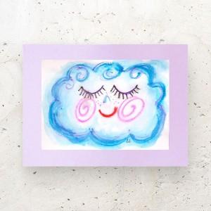 rysunek z chmurką, chmurka akwarela, chmurka obrazek malowany ręcznie, chmurka dekoracja na ścianę, grafika do dziecięcego pokoju