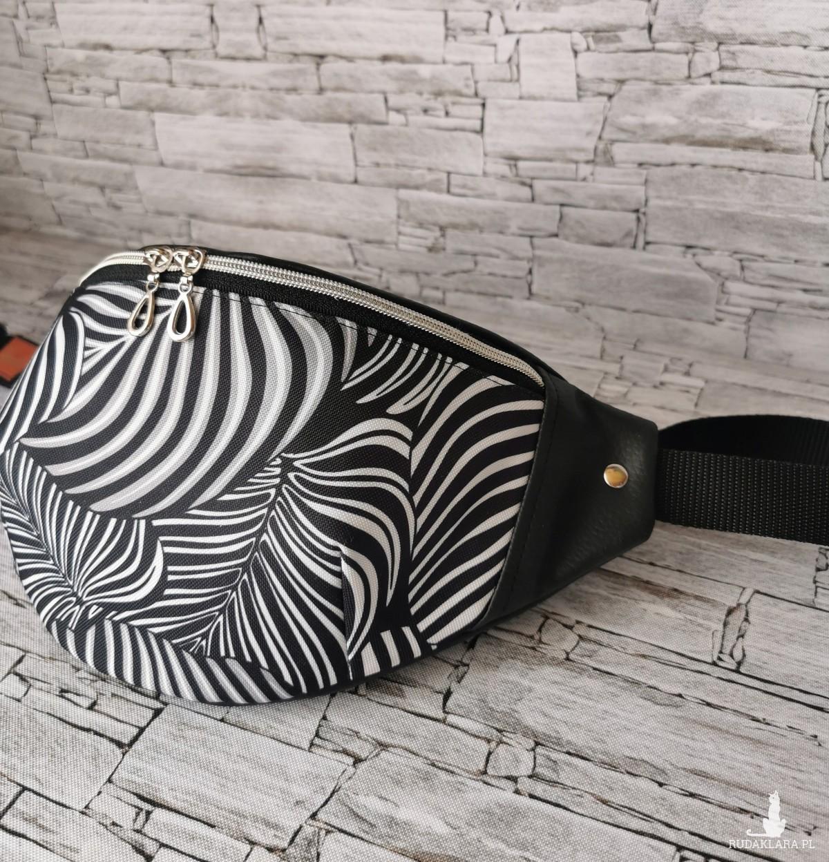 Nerka saszetka biodrowa rozmiar L - liście zebra