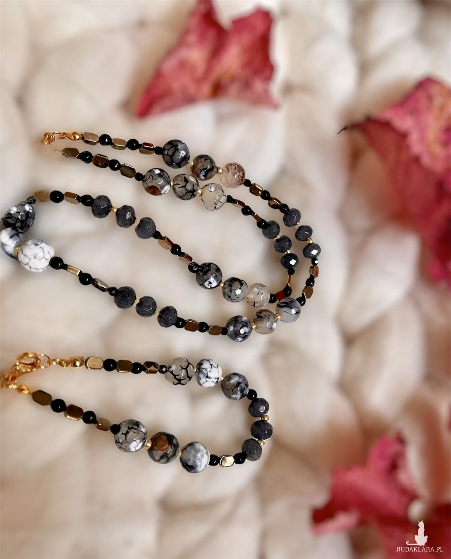 Komplet biżuterii z agatem i onyksem