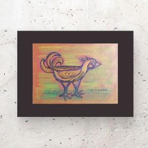 rysunek z ptakiem, ptaszek grafika na ścianę, mały rysunek do pokoju, ptaszek obraz 21x30, ptaszek szkic do sypialni