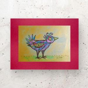 mały rysunek do salonu, oryginalny obrazek z ptaszkiem, ptaszek grafika do domu, ptak rysunek A4, obraz z ptaszkiem