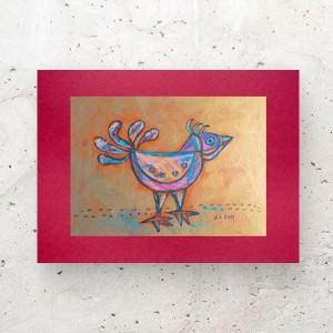 mała grafika na ścianę, kolorowy obrazek z ptakiem, ptaszek rysunek do salonu, ptak obrazek do domu