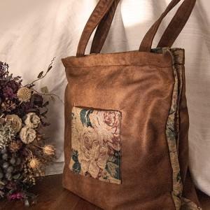 Double bag z rudej ekoskóry