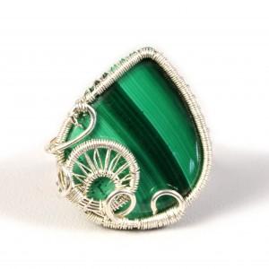 Malachit, Srebrny regulowany pierścionek z malachitem zielonym regulowany, prezent dla niej prezent dla mamy, prezent dla kobiety handmade pomysł na prezent