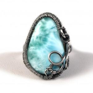 Larimar, Srebrny regulowany pierścionek z larimarem niebieskim regulowany, prezent dla niej prezent dla mamy, prezent dla kobiety handmade pomysł na prezent