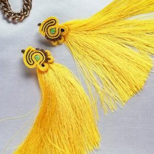 Żółte wiszące kolczyki sutasz