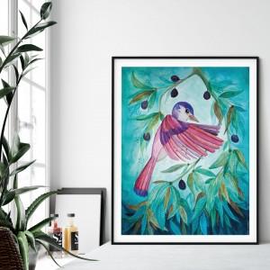 Pink bird 50x70