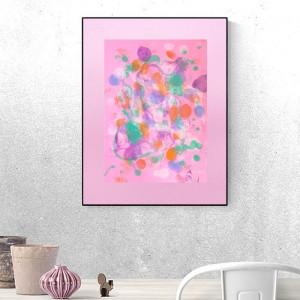 różowa grafika na ścianę, różowa abstrakcja malowana ręcznie, abstrakcyjny obraz do sypialni, różowy rysunek abstrakcyjny